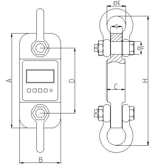 Çekme Kuvvet Ölçme Aleti PCE-DDM Serisinin teknik çizimi